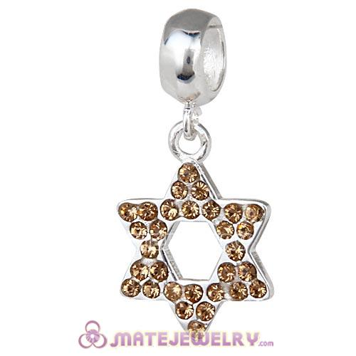Sterling Silver Star Of David with Light Colorado Topaz Austrian Crystal Dangle Beads
