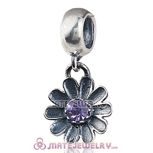 Sterling Silver Gerbera Flower with Tanzanite Crystal Dangle Beads