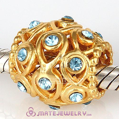 Gold Plated Sterling Silver Ocean Treasures Beads with Aquamarine Austrian Crystal