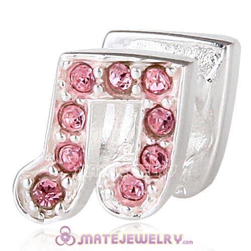 Sterling Silver Music Note Beads with Light Rose Austrian Crystal