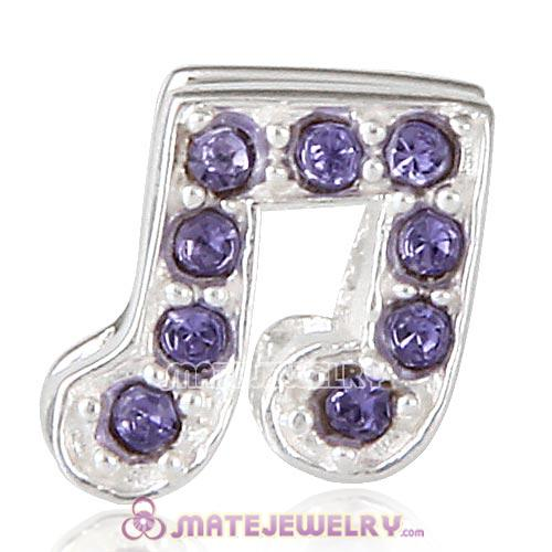 Sterling Silver Music Note Beads with Tanzanite Austrian Crystal