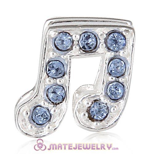 Sterling Silver Music Note Beads with Light Sapphire Austrian Crystal