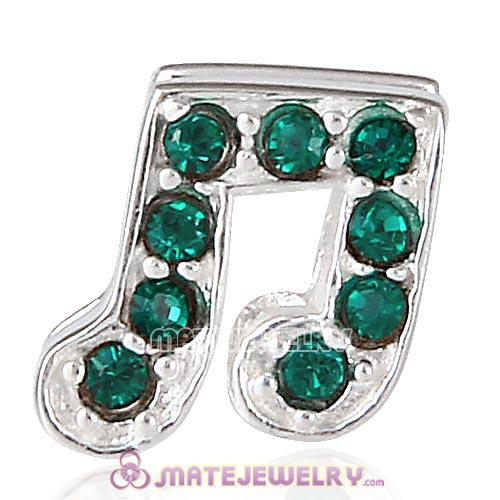 Sterling Silver Music Note Beads with Emerald Austrian Crystal