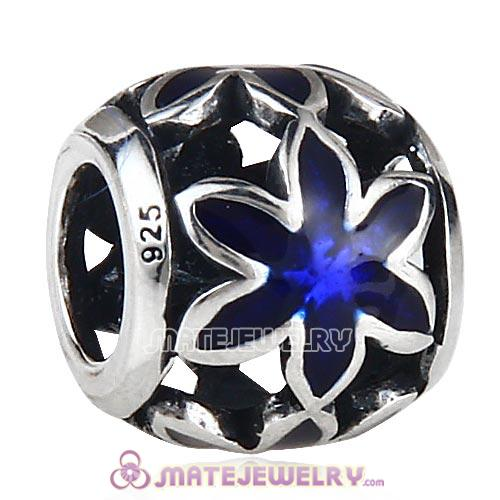 Sterling Silver Enamel Flower Beads European Style