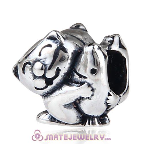 Antique Sterling Silver Cat Hugging Fish Charm Beads European Style