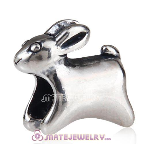 Antique Sterling Silver Running Rabbit Charm Beads European Style