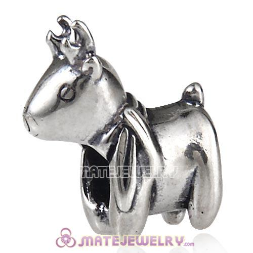 Antique Sterling Silver Cute Deer Charm Beads European Style