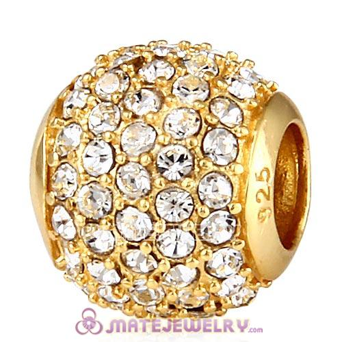 Gold Plated Sterling Pave Lights with Clear Austrian Crystal Charm