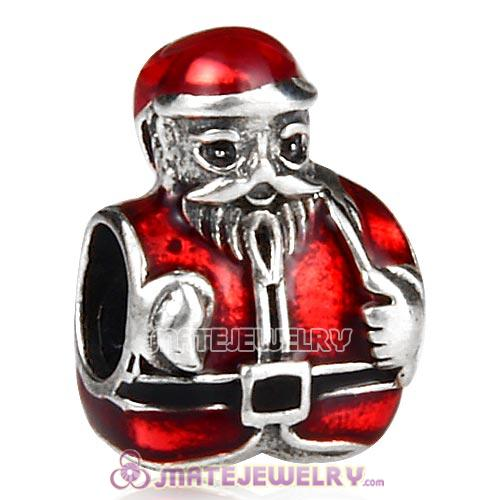 Sterling Silver Saint Nick with Red Enamel Charm Beads for Christmas