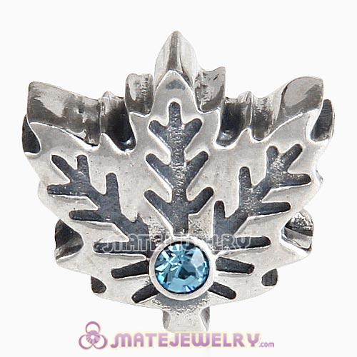 Sterling Silver Maple Leaf Beads with Aquamarine Austrian Crystal European Style