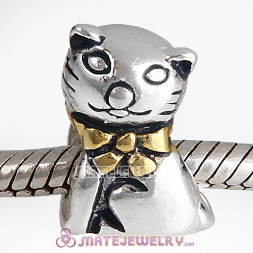 Gold Plated Sterling Silver Cute Mr Cat Beads European Style