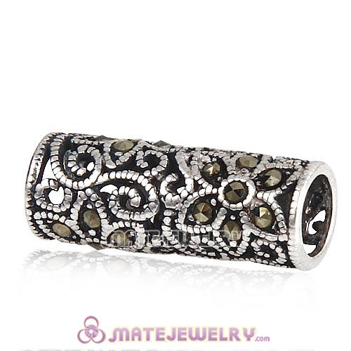 Sterling Silver Cylinder Flower Beads with Jet Hematite Austrian Crystal