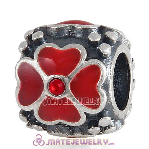 Sterling Silver Enamel Red four-leaf clover with Crystal Beads European Style