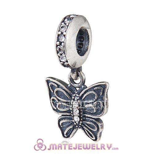 European Sterling Silver Dangle Love Butterfly Beads with Clear Austrian Crystal