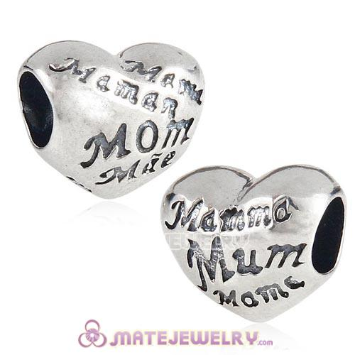 Sterling Silver MOM Heart Charm with MOM Love in Different Languages