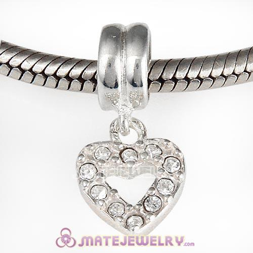 Sterling Silver Heart Dangle Charms with Clear Austrian Crystal