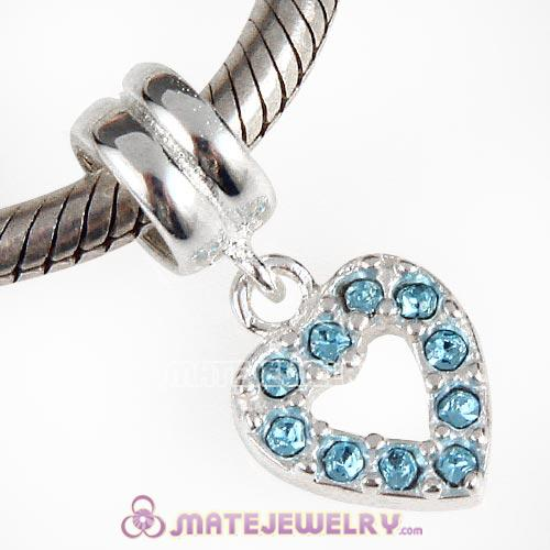 Sterling Silver Heart Dangle Charms with Aquamarine Austrian Crystal