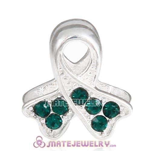 Sterling Silver Ribbon Lung Cancer Beads with Emerald Austrian Crystal European Style