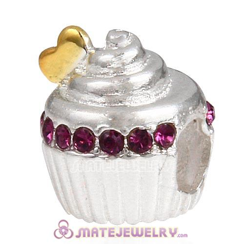Sterling Silver Golden Heart Cupcake Beads with Amethyst Austrian Crystal European Style