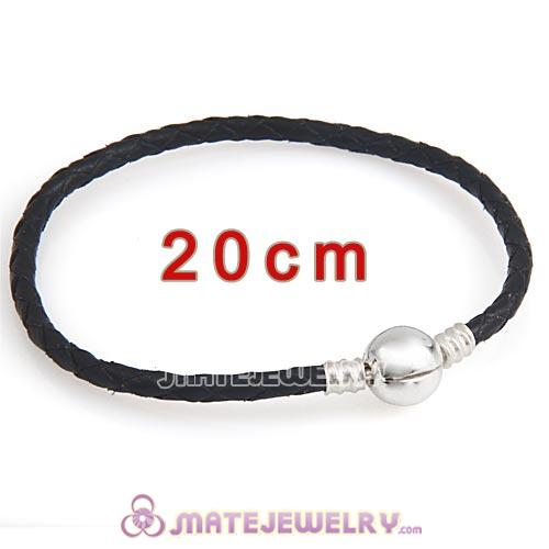20cm Black Braided Leather Bracelet with Silver Round Clip fit European Beads
