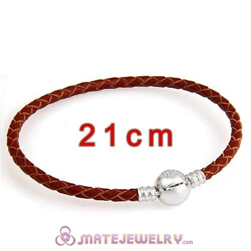 21cm Brown Braided Leather Bracelet with Silver Round Clip fit European Beads