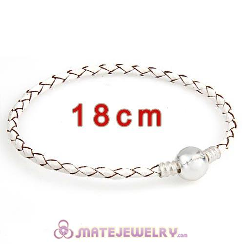 18cm White Braided Leather Bracelet with Silver Round Clip fit European Beads