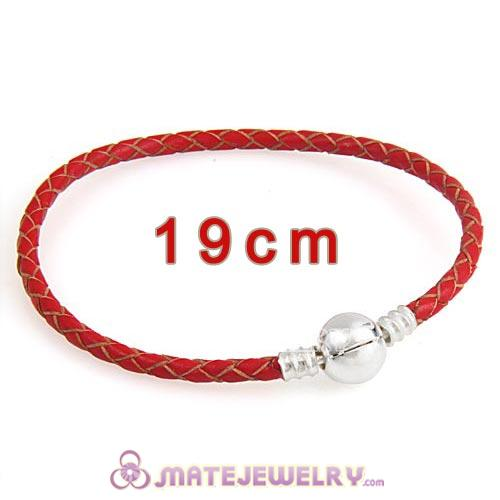 19cm Red Braided Leather Bracelet with Silver Round Clip fit European Beads