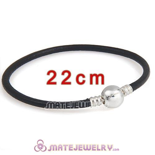 22cm Black Slippy Leather Bracelet with Silver Round Clip fit European Beads