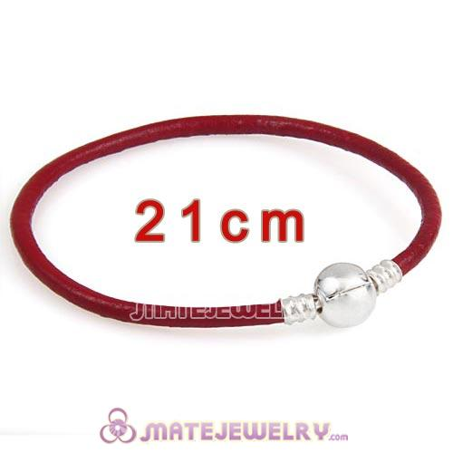 21cm Dark Red Slippy Leather Bracelet with Silver Round Clip fit European Beads