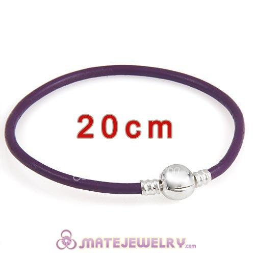20cm Purple Slippy Leather Bracelet with Silver Round Clip fit European Beads