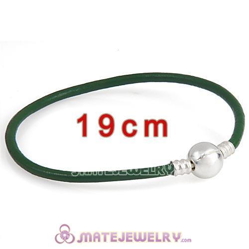 19cm Green Slippy Leather Bracelet with Silver Round Clip fit European Beads