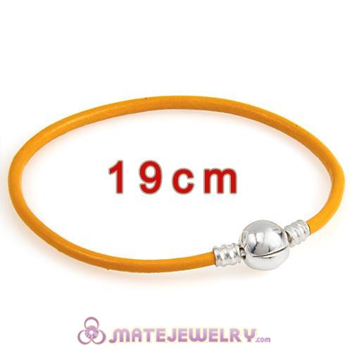 19cm Yellow Slippy Leather Bracelet with Silver Round Clip fit European Beads