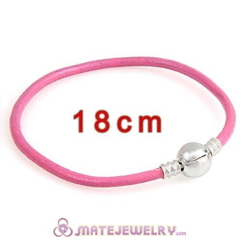 18cm Pink Slippy Leather Bracelet with Silver Round Clip fit European Beads