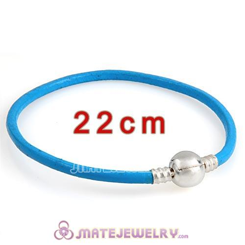 22cm Blue Slippy Leather Bracelet with Silver Round Clip fit European Beads