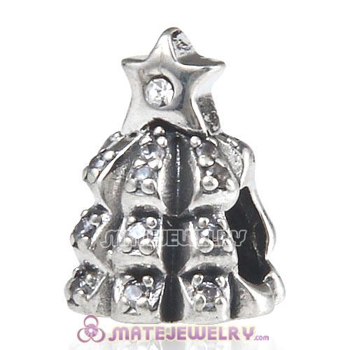 Sterling Silver Christmas Tree of Lights with Clear CZ Charm Beads