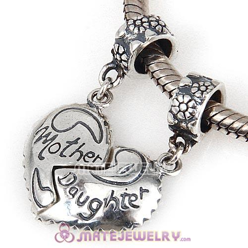 Sterling Silver Dangle Mother Daughter Heart Charms European Style