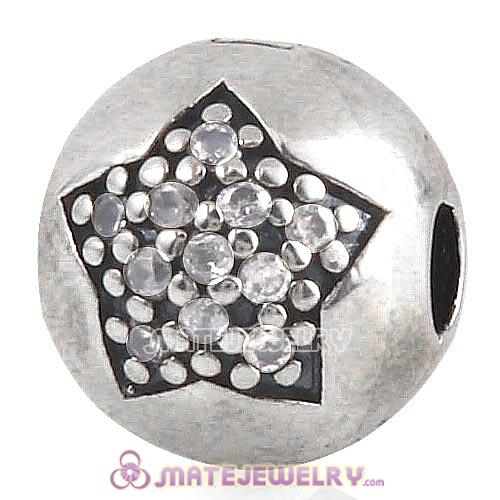 Sterling Silver You're a Star with Clear CZ Clip Beads European Style