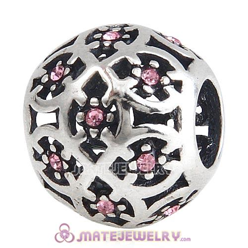 Sterling Silver Intricate Lattice Beads with Light Rose Austrian Crystal European Style