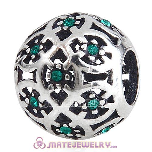 Sterling Silver Intricate Lattice Beads with Emerald Austrian Crystal European Style
