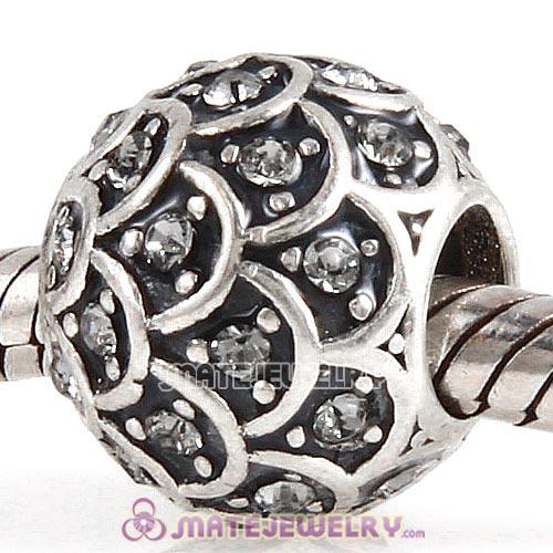 Sterling Silver Sparkling Fish Scale Beads with Black Diamond Austrian Crystal European Style