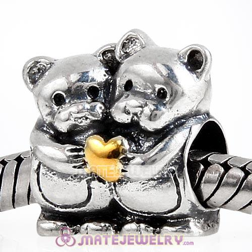 Gold Plated Heart Sterling Silver Bear Hug Charm Beads