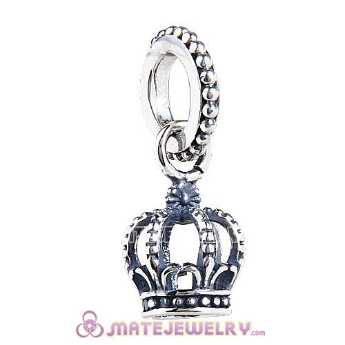 European Sterling Silver Dangle Noble Splendor Crown Charm