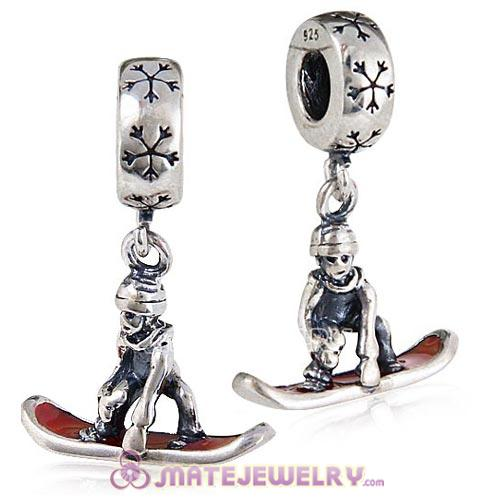 European Sterling Silver Dangle Snowboarder with Red Enamel Charm Beads