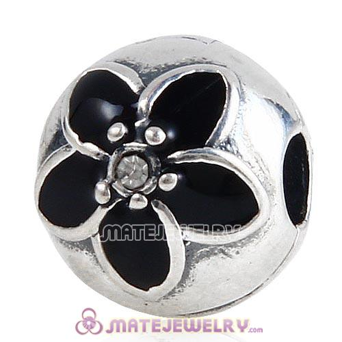 Sterling Silver Mystic Floral with Clear Crystal Black Enamel Clip Beads
