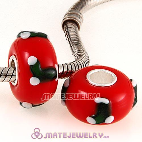 Handmade Christmas Socks Stockings Glass Beads in 925 Silver Core