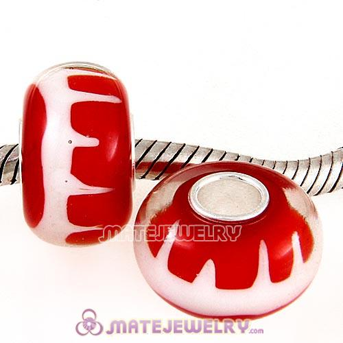 Handmade Christmas Glass Beads in 925 Silver Core