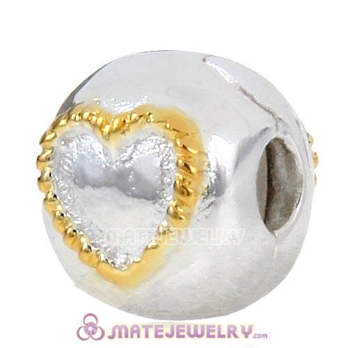 Sterling Silver Gold Plated Braided Heart Clip Beads European Style