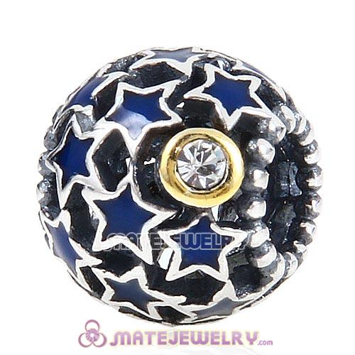 Sterling Silver Night Sky with Blue Stars Enamel Charm and Clear Austrian Crystal