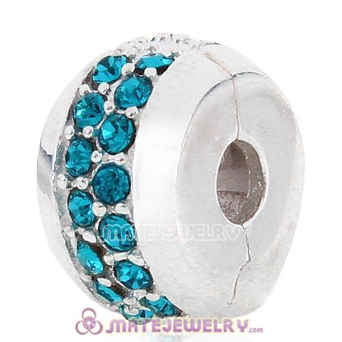 Sterling Silver Clip Beads with Blue Austrian Crystal European Style