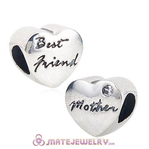 925 Sterling Silver European Mother and Best friend Heart Charms Beads with White CZ Stone
